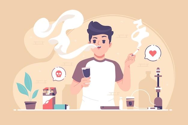 Ilustração do conceito de um menino fumando cigarro