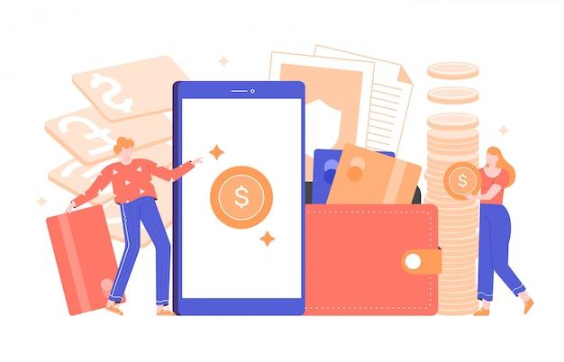 Ilustração do conceito de uma aplicação financeira. carteira online, banco, investimento e economia de dinheiro. personagem masculino com cartão de crédito, mulher com uma moeda de ouro. carteira e smartphone. plano.
