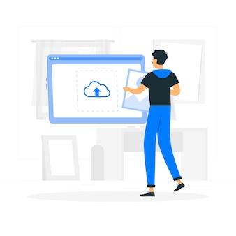 Ilustração do conceito de upload de imagem