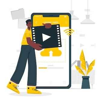 Ilustração do conceito de upload de vídeo