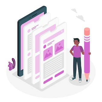 Ilustração do conceito de ux móvel