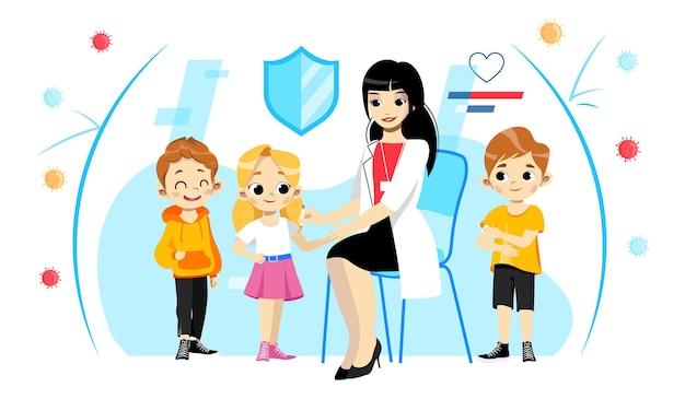 Ilustração do conceito de vacinação infantil e cuidados de saúde. jovem enfermeira feminina em jaleco branco, fazendo injeção para crianças sorridentes. proteção imunológica contra diversos vírus e doenças perigosas.