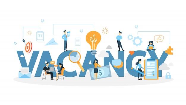 Ilustração do conceito de vaga. idéia de novos funcionários.