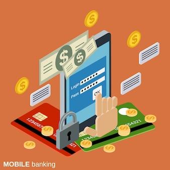 Ilustração do conceito de vetor isométrica 3d mobile banking plana