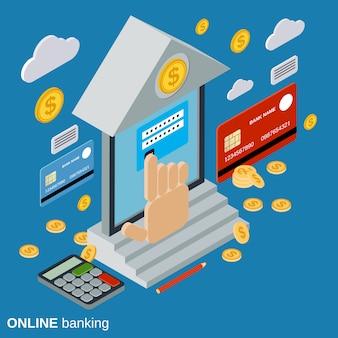 Ilustração do conceito de vetor isométrica plana de banca on-line