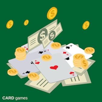 Ilustração do conceito de vetor isométrica plana de sucesso de jogo de cartas