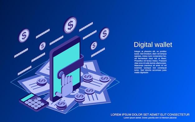Ilustração do conceito de vetor isométrico 3d carteira digital plana