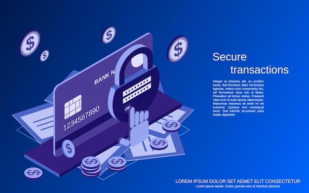 Ilustração do conceito de vetor isométrico 3d plano de transação segura