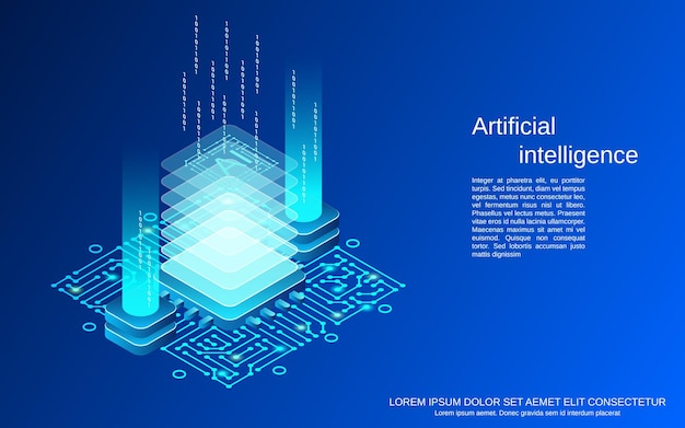 Ilustração do conceito de vetor isométrico plano 3d de inteligência artificial