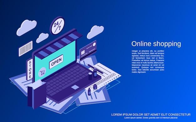 Ilustração do conceito de vetor isométrico plano 3d para compras online