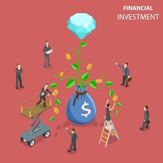 Ilustração do conceito de vetor isométrico plano de investimento financeiro.