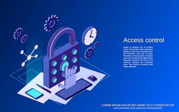 Ilustração do conceito de vetor plano isométrico de controle de acesso