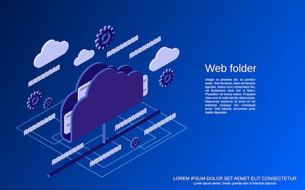 Ilustração do conceito de vetor plano isométrico de pastas da web