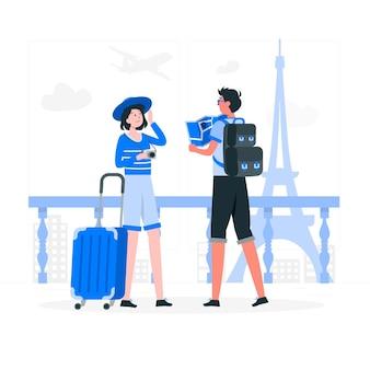 Ilustração do conceito de viajantes