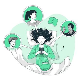 Ilustração do conceito de vida social