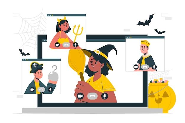 Ilustração do conceito de videochamada de halloween