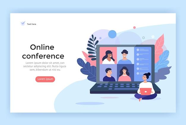 Ilustração do conceito de videoconferência amigos usando o computador para uma reunião online