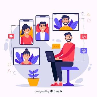 Ilustração do conceito de videoconferência dos desenhos animados