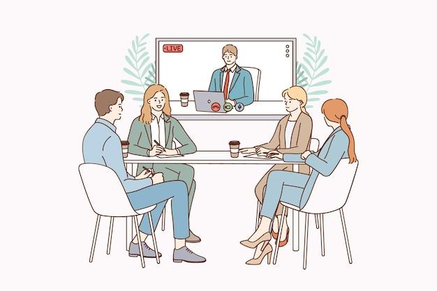 Ilustração do conceito de videoconferência e trabalho em equipe