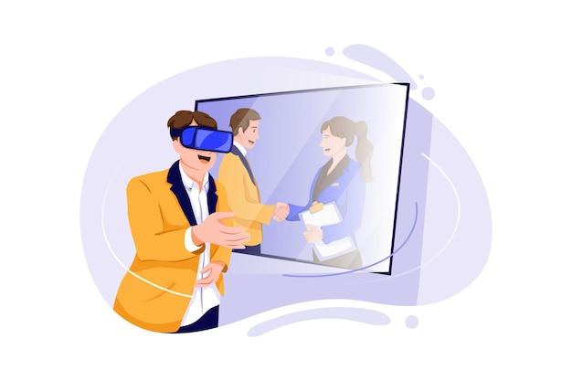 Ilustração do conceito de videoconferência em realidade virtual