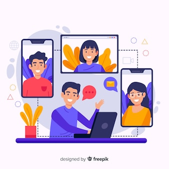 Ilustração do conceito de videoconferência