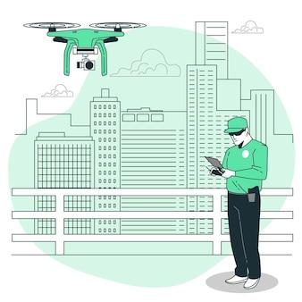 Ilustração do conceito de vigilância drone