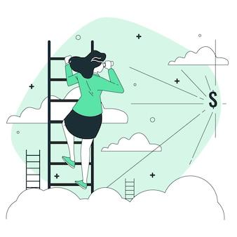 Ilustração do conceito de visão de negócios