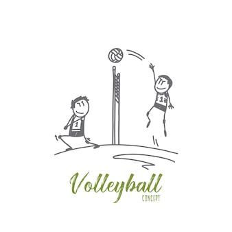 Ilustração do conceito de voleibol