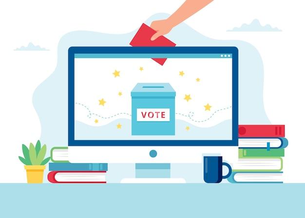 Ilustração do conceito de votação online