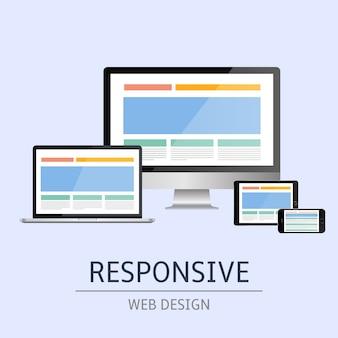 Ilustração do conceito de web design responsivo em fundo azul
