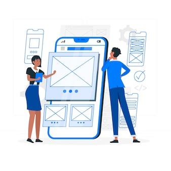 Ilustração do conceito de wireframe móvel