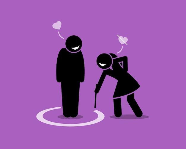 Ilustração do conceito de zona de amigo. a obra de arte retrata um homem em uma zona de amizade por uma garota.
