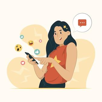 Ilustração do conceito divertido de mensagens