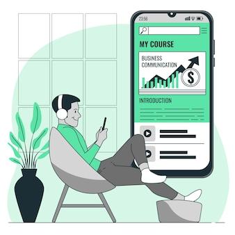 Ilustração do conceito do aplicativo do curso