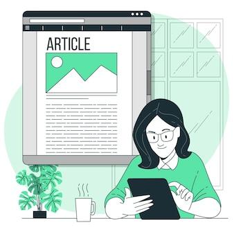 Ilustração do conceito do artigo online