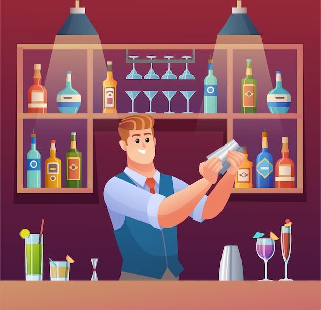 Ilustração do conceito do barman misturando bebidas no balcão do bar