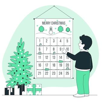 Ilustração do conceito do calendário do advento