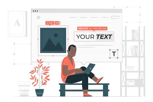 Ilustração do conceito do criador de site
