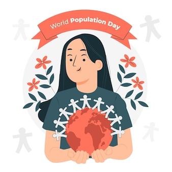Ilustração do conceito do dia da população mundial