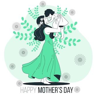 Ilustração do conceito do dia das mães