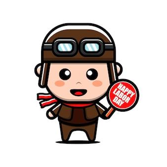 Ilustração do conceito do dia do trabalho do personagem do piloto fofo