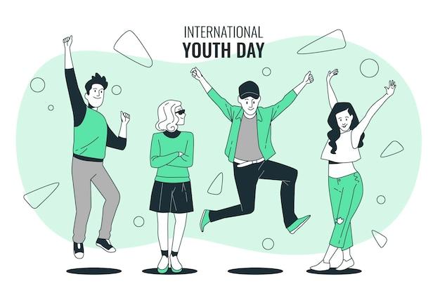 Ilustração do conceito do dia internacional da juventude