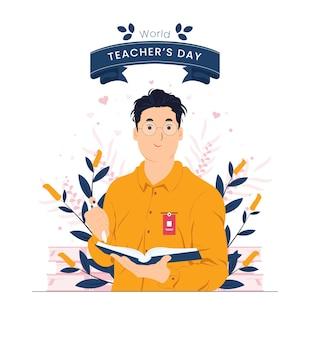 Ilustração do conceito do dia internacional do dia mundial dos professores