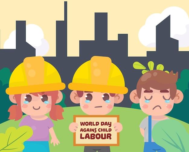 Ilustração do conceito do dia mundial contra o trabalho infantil