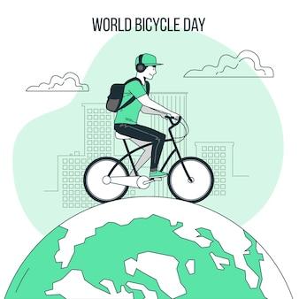 Ilustração do conceito do dia mundial da bicicleta