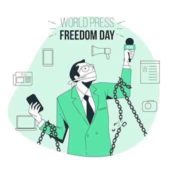 Ilustração do conceito do dia mundial da liberdade de imprensa