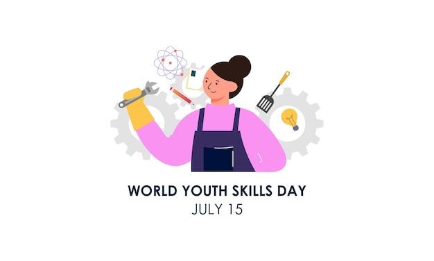 Ilustração do conceito do dia mundial das habilidades da juventude