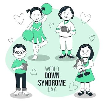 Ilustração do conceito do dia mundial de síndrome de down