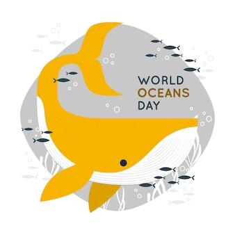 Ilustração do conceito do dia mundial do oceano