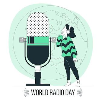 Ilustração do conceito do dia mundial do rádio